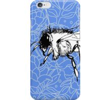 Flying Bee on Peony Pattern-Blue iPhone Case/Skin
