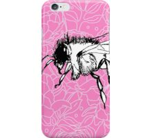 Flying Bee on Peony Pattern-Pink iPhone Case/Skin