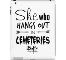 She Who Hangs Out in Cemeteries (Black) iPad Case/Skin
