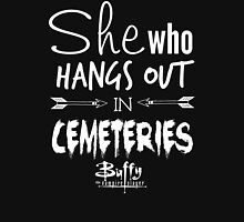 She Who Hangs Out in Cemeteries (White) Womens Fitted T-Shirt