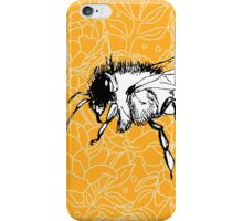 Flying Bee on Peony Pattern-Yellow iPhone Case/Skin
