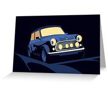 Mini Cooper in Blue Greeting Card
