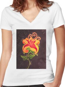 Flower Gleam and Glow Women's Fitted V-Neck T-Shirt