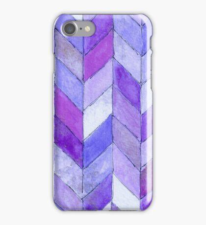 herringbone watercolor blues iPhone Case/Skin
