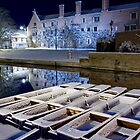 Magdalene College and punts in the snow by BeardyGit