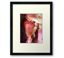 Blowing Deerbone Feather Rainbow series Framed Print