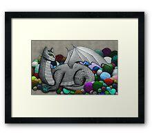 Tabby Dragon with Yarn Hoard Framed Print