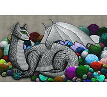 Tabby Dragon with Yarn Hoard Photographic Print