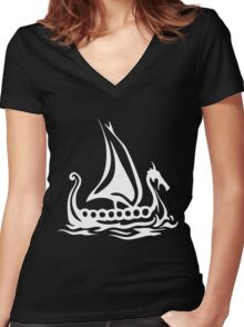 Cartoon Fishing Sailing Boat Women's Fitted V-Neck T-Shirt