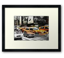 Cab meets Times Square Framed Print