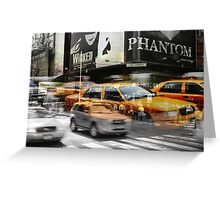 Cab meets Times Square Greeting Card