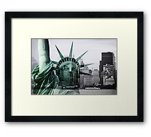 Statue of Liberty meets Manhattan Framed Print