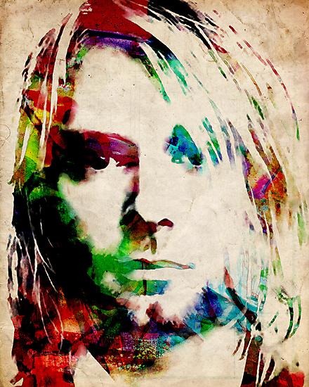 Kurt Cobain Urban Watercolor by Michael Tompsett