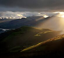 Light beams over Keswick by Shaun Whiteman