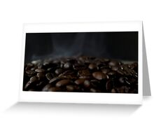 Hot beans, Close up of espresso beans Greeting Card