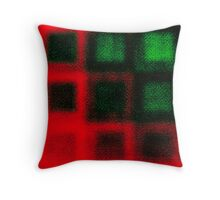 Green Squares on Red Throw Pillow