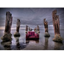 an old chair and an even older pier Photographic Print