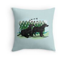 Black Curly Coated Retriever  Throw Pillow