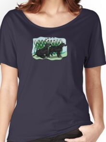 Black Curly Coated Retriever  Women's Relaxed Fit T-Shirt