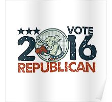 Vote Republican 2016 Elephant Boxer Circle Etching Poster
