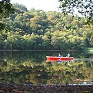 Red Row-Boat Reflections - Grasmere Lake by Marilyn Harris