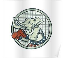 Republican Elephant Boxer Mascot Circle Etching Poster
