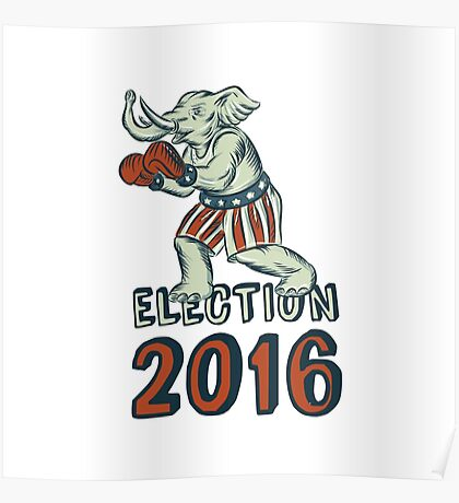 Election 2016 Republican Elephant Boxer Etching Poster