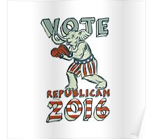 Vote Republican 2016 Elephant Boxer Isolated Etching Poster