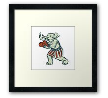 Republican Elephant Boxer Mascot Isolated Etching Framed Print