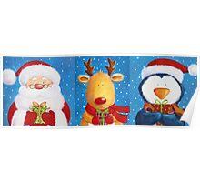 Cute Santa, Penguin and Reindeer Poster