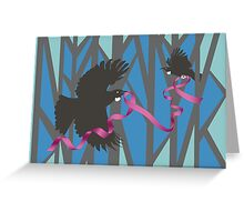 Flying Tui in Forest with Pink Ribbon Greeting Card