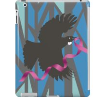 Flying Tui in Forest with Pink Ribbon iPad Case/Skin