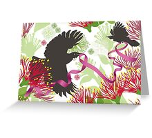 Flying Tuis, Pink Ribbon and Pohutukawas Greeting Card