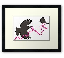 Flying Tui with Pink Ribbon Framed Print