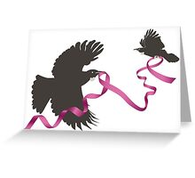 Flying Tui with Pink Ribbon Greeting Card