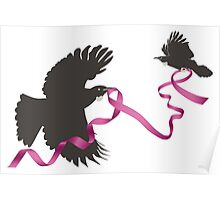 Flying Tui with Pink Ribbon Poster