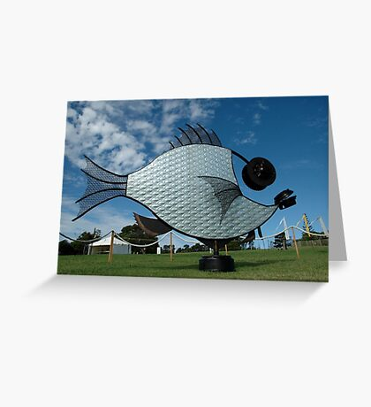 Silver Fish,Sculptures on The Edge,Australia 2015 Greeting Card