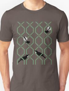 Tui and Fantail on a Lattice T-Shirt
