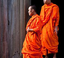 Monks of Angkor Wat by phil decocco