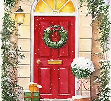 Red Door decorated for Christmas by lizblackdowding