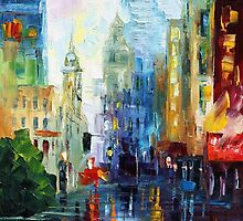 Rain In new york - Original Art Oil Painting By Leonid Afremov by Leonid  Afremov