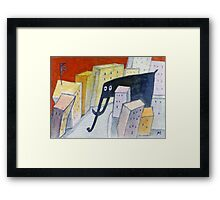 Elephant in the City Framed Print