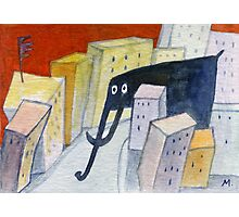 Elephant in the City Photographic Print