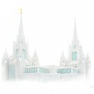 San Diego Temple in White 20x24 by Ken Fortie