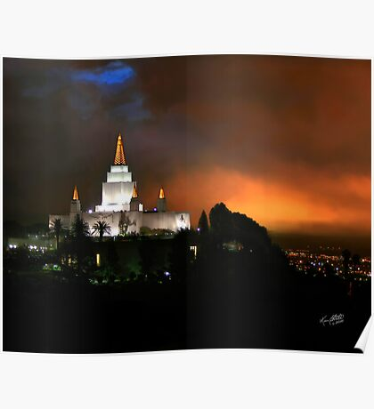 Oakland Temple at Sunset 20x24 Poster