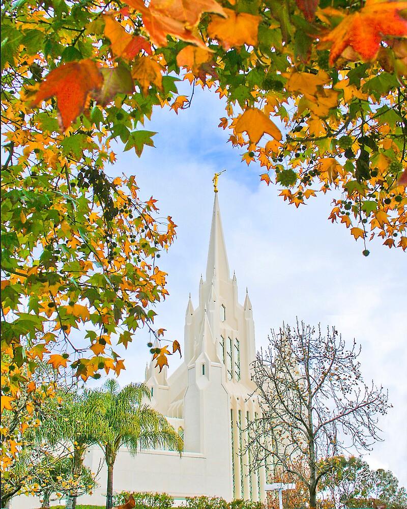 San Diego Temple in Autumn 20x24 by Ken Fortie