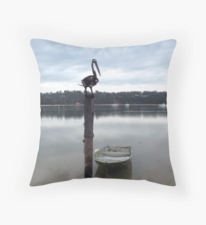 A Bird and A Boat Throw Pillow