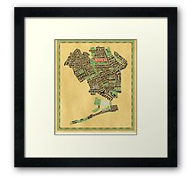 Queens New York Map Typography Framed Print