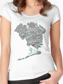 Queens New York Map Typography Women's Fitted Scoop T-Shirt