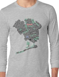 Queens New York Map Typography Long Sleeve T-Shirt